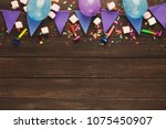 violet paper flags garland and... | Shutterstock . vector #1075450907