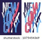 t shirt stamp new york city ... | Shutterstock .eps vector #1075454369