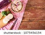 fresh healthy chopped eggplant... | Shutterstock . vector #1075456154
