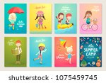summer kids card set  swimming  ... | Shutterstock .eps vector #1075459745
