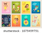 summer kids card set  swimming  ... | Shutterstock .eps vector #1075459751