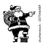 pointing santa   retro clipart... | Shutterstock .eps vector #107546489