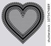 black lace tenderness heart.... | Shutterstock . vector #1075474889