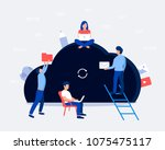 cloud storage design concept.... | Shutterstock .eps vector #1075475117