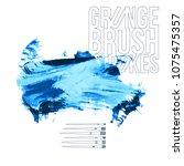blue brush stroke and texture.... | Shutterstock .eps vector #1075475357