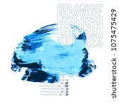 blue brush stroke and texture.... | Shutterstock .eps vector #1075475429
