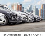 cars for sale stock lot row.... | Shutterstock . vector #1075477244