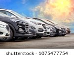 cars for sale stock lot row.... | Shutterstock . vector #1075477754