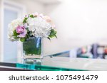 reception interior with... | Shutterstock . vector #1075491479