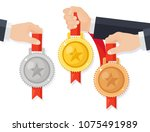 set of gold  silver  bronze... | Shutterstock .eps vector #1075491989