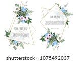 set of card with leaves and... | Shutterstock .eps vector #1075492037