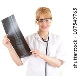 female doctor in protective glasses looking at x-ray, leg, white background - stock photo