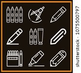 set of 9 draw outline icons... | Shutterstock .eps vector #1075500797