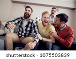 group of friends watching... | Shutterstock . vector #1075503839