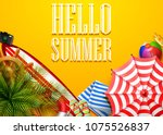 hello summer time holiday... | Shutterstock .eps vector #1075526837