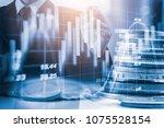 double exposure businessman and ... | Shutterstock . vector #1075528154