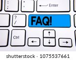 writing note showing  faq... | Shutterstock . vector #1075537661