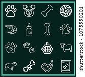 set of 16 animals outline icons ... | Shutterstock .eps vector #1075550201
