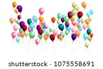 realistic balloons bunch flying ... | Shutterstock .eps vector #1075558691