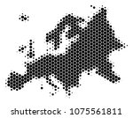 halftone dotted europe map.... | Shutterstock .eps vector #1075561811