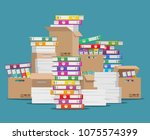 pile of paper file. unorganized ... | Shutterstock .eps vector #1075574399