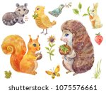 cute watercolor forest animals. ... | Shutterstock . vector #1075576661