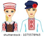 slavic beauty. animation... | Shutterstock .eps vector #1075578965