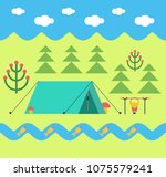 trekking in forest. tent and... | Shutterstock .eps vector #1075579241