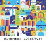 city seamless pattern. place... | Shutterstock .eps vector #1075579259