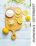 elder flower drink ingredients... | Shutterstock . vector #1075586057