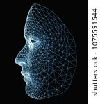 human face consisting of... | Shutterstock . vector #1075591544