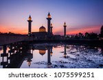 a beautiful view of mosque... | Shutterstock . vector #1075599251