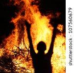 Man on fire - stock photo