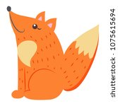 cute funny red  bushy tailed... | Shutterstock .eps vector #1075615694