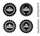 black stamps with king hat and... | Shutterstock .eps vector #1075615979