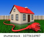 3d illustration of house with... | Shutterstock . vector #1075616987
