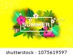 pink flamingo float. pink...   Shutterstock .eps vector #1075619597