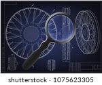 drawing and 3d model wheels... | Shutterstock .eps vector #1075623305