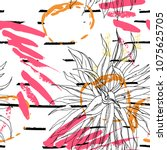tropical  stripe  animal motif. ... | Shutterstock .eps vector #1075625705