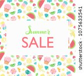 hand sketched summer sale... | Shutterstock .eps vector #1075633541