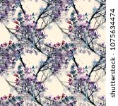 lilac seamless pattern....   Shutterstock . vector #1075634474