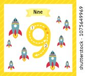 cute children flashcard number... | Shutterstock .eps vector #1075649969