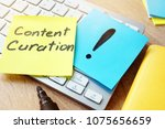 Small photo of Content Curation. Memo stick on a keyboard.