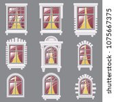 set of different windows ... | Shutterstock .eps vector #1075667375