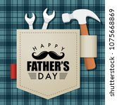 happy fathers day greeting card ... | Shutterstock .eps vector #1075668869