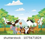 illustration of happy animal in ... | Shutterstock .eps vector #1075671824