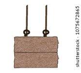 wooden signpost hanging scribble | Shutterstock .eps vector #1075672865