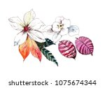 graceful flowers  the leaves... | Shutterstock . vector #1075674344