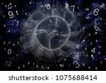 numerology world and space clock | Shutterstock . vector #1075688414