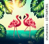 two flamingos on the beach | Shutterstock . vector #1075689281